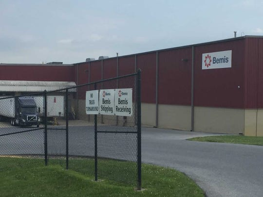 The rear entrance of the Bemis plastic-packaging plant