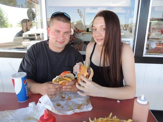 Trevor Marty and Gabby Romero, regulars at Bartels Giant Burger on Lake Boulevard in Redding.