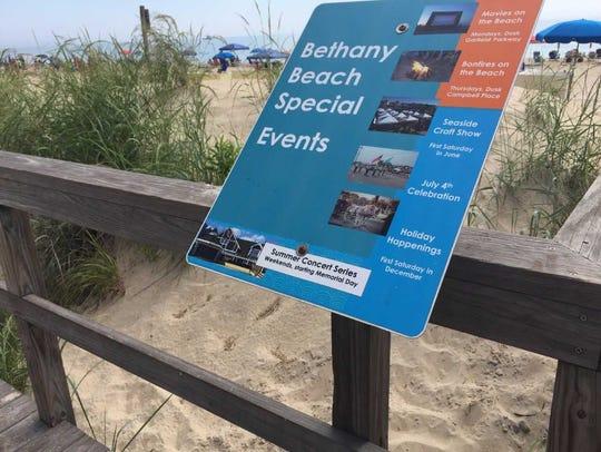 A sign along the Bethany Beach Boardwalk describing