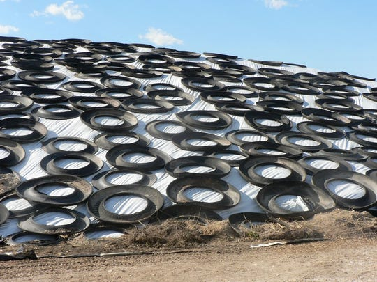 A big plastic covered silage pile.