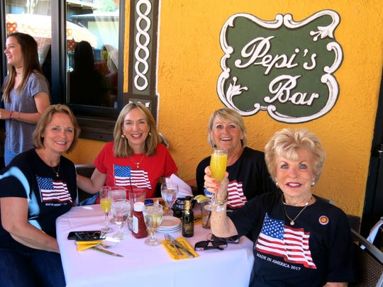 The Kansas contingent at Pepi's on July 4: Judie Laws, Jill Aylward, Kellie Thomen, Mary Alice Lair,  who knew President Gerald Ford and once had tea with Betty Ford, all of Chanute.
