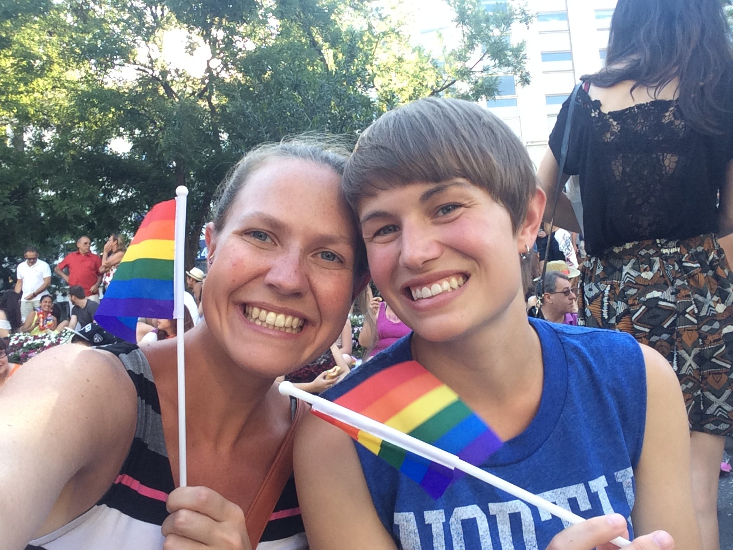 Beth Decker (left) and Christine Popp in Madrid, Spain,