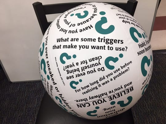 A ball that poses questions about drug use that is used at Families Against Addiction in Old Bridge.
