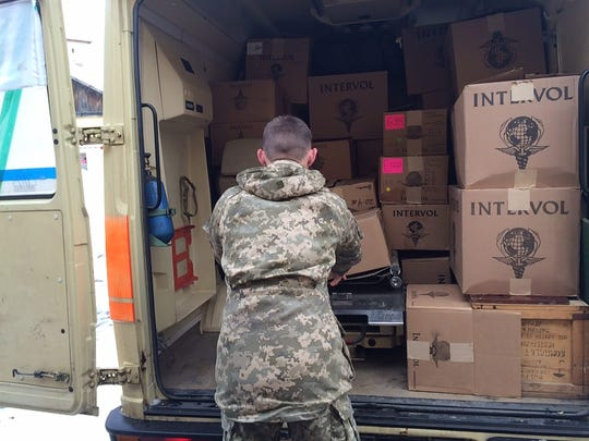 InterVol boxes are delivered to hospitals in Ukraine in 2016.