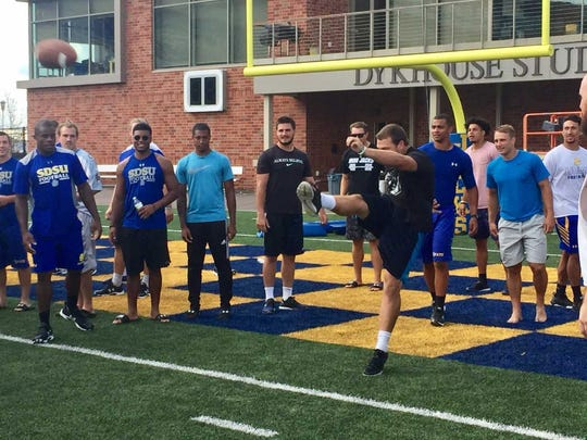 SDSU linebacker Dalton Cox punts during 'Jackrabbit