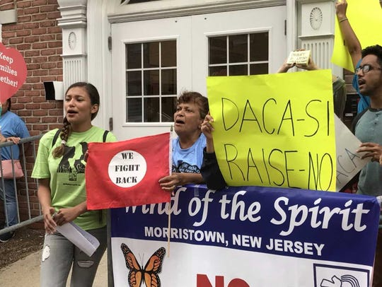 Alondra Pegueros, right, of Morris County, who is a DACA recipient, participating in rally Tuesday, Aug. 15, 2017, on the five-year anniversary of the program.