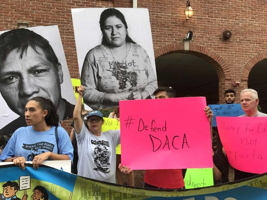 Rally held outside of U.S. Rep's Rodney Frelinghuysen office in Morristown Tuesday on five-year anniversary of the DACA program which has given protection from deportation to more than 22,000 living in New Jersey.