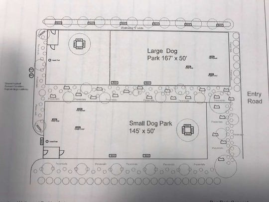 Map of a proposed dog park in Oakland's Great Oak Park.