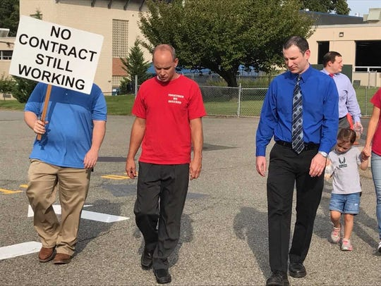 Ramapo Indian Hills teachers at a protest on Tuesday.