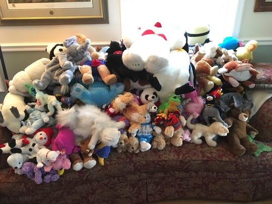 The 118 stuffed animals that Morgan Wilcox donated to the Danby Fire Department.