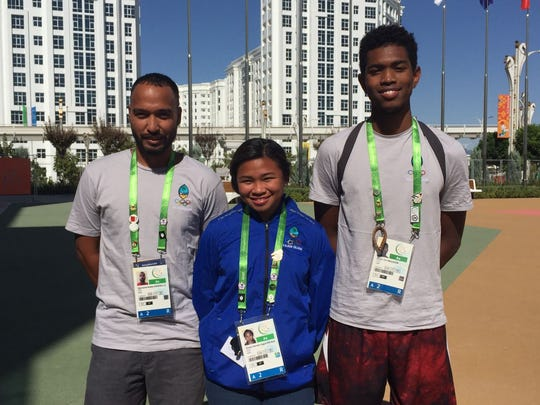 Guam's athletics team in Turkmenistan includes, from left, coach Desmond Mandell; Shania Bulala, 60m sprinter and Athan Arizanga, 400m sprinter.