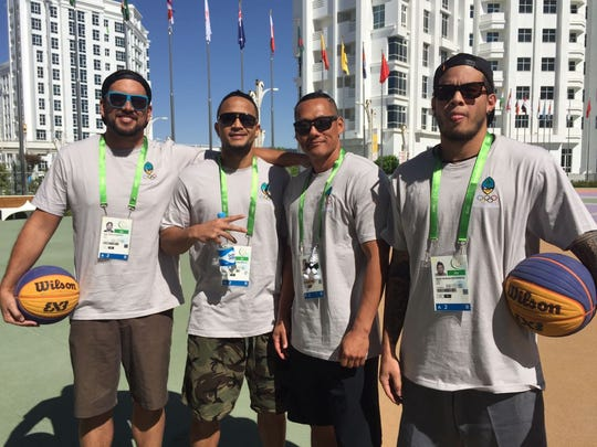 The Guam National Basketball team in Ashgabat, Turkmenistan on Sept. 18, 2017, to compete in the 5th Asian Indoor and Martial Arts Games. Members, left to right, Seve Susuico, Joe Blas, Jin Han and Darren Hechanova.