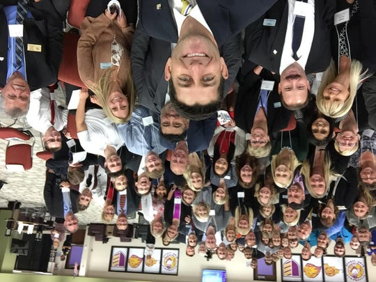 At the end of his visit to New Berlin Eisenhower Middle/High School, Paul Ryan took a selfie with everyone in the student commons.