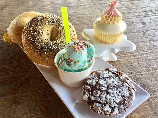 Samples of the cookies, gelato, cupcakes, bagels and pastries at Sweetspot.