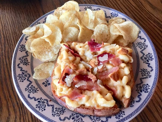 """Spicy mac and cheese sandwich, one of the """"grown-up grilled cheese"""" offerings at Sweetspot every Thursday evening."""