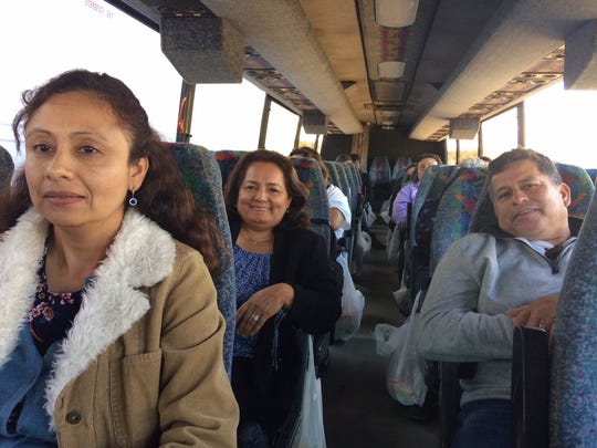 Galdamez Martinez, left, and Blanca Molina, center, executive director of CEUS, returning from Washington last month after lobbying lawmakers to protect TPS holders.