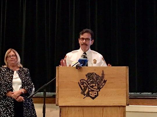 Sayreville Police Chief John Zebrowski speaks to students