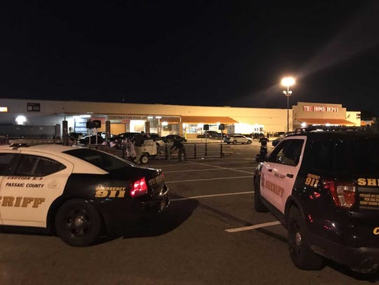 The scene at the Home Depot in Passaic on Tuesday,
