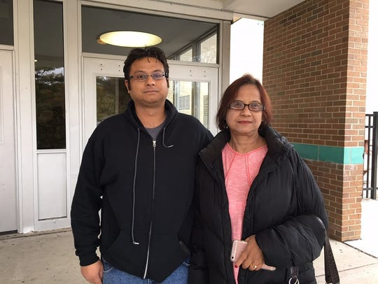 Edison voters Chinmoy Chaudhury and his mother Anjana Chaudhury