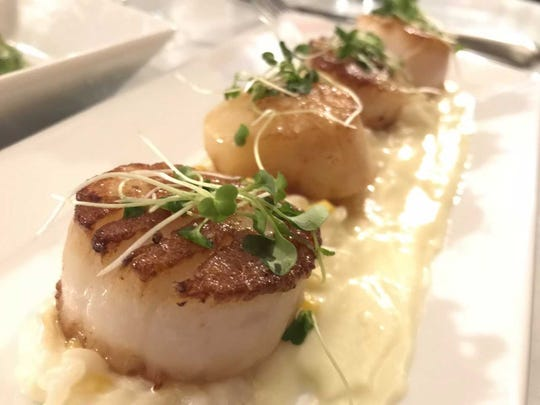 Seared scallops at 4126 in Anderson.