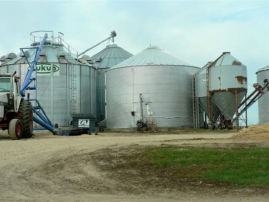 Storage bins for the Flannery's large grain crop are full.