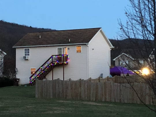 The rear of the home in the 3700 block of Mountain Shadow Circle, Greene Township, where Jamie Ruth Daley was found around 11:30 a.m. Thursday, Dec. 7.