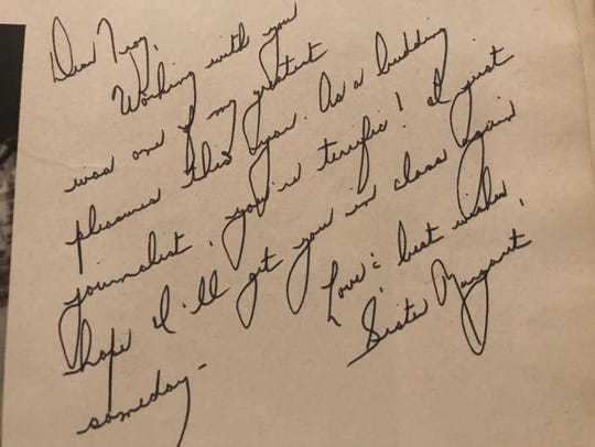 Sister Margaret's inscription to   Troy in the 1977