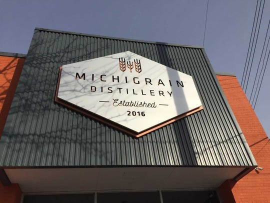 Michigrain Distillery's sign on Jan. 19. The distillery