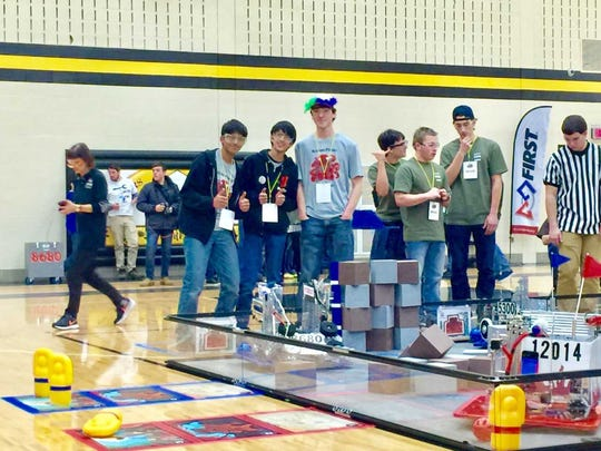 The driving team is shown here after winning the final match of the Northwest Indiana Regional.