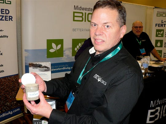 Karl Harpstead of Midwestern BioAg shows his companies
