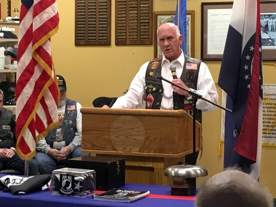 Scott Magill, executive director of Veterans in Defense of Liberty, speaks to a crowd at Springfield's American Legion Post 639 in January.
