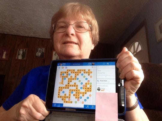 Susan's friend Joyce playing WORDS with Friends from her home in Illinois.