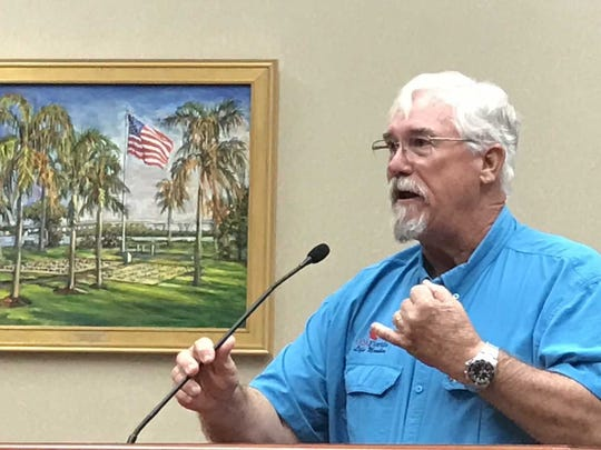 Capt. Paul Fafeita, a Vero Beach fishing guide and president of the Treasure Coast chapter of the Coastal Conservation Association, explains conditions at Bethel Creek to Vero Beach City Council members during a Feb. 20, 2018, meeting.