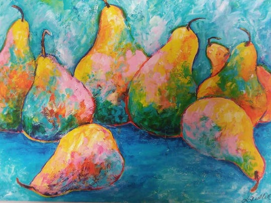 Sally Quillin will teach two classes on May 23 with acrylic painting of a pear still life.