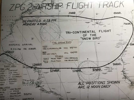 This map traces the Snow Bird's record-setting flight.