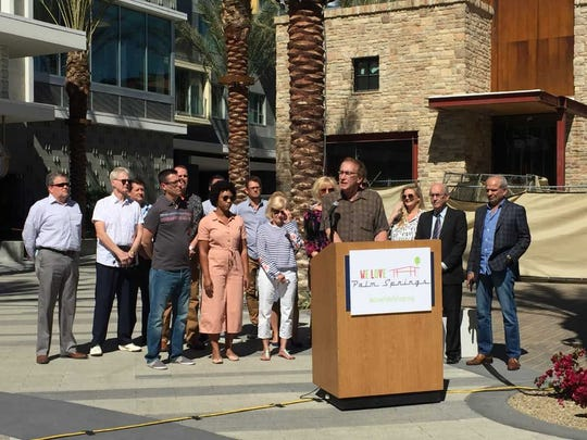 Bruce Hoban, a member of a group opposing a ballot initiative to ban short-term vacation rentals in residential Palm Springs neighborhoods, speaks at a press conference on March 6, 2018.