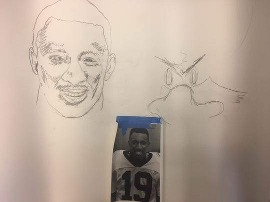 Tubby Raymond's drawing of former Blue Hens cornerback James Simmons, now executive director of secondary education in the Brandywine School District, that he was working on before he became ill last fall.