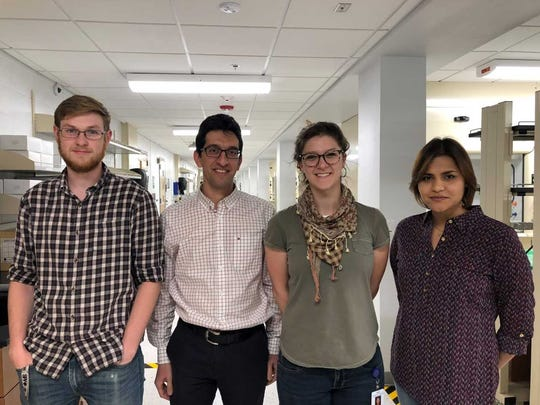NMSU graduate student Ryan Zowada; Reza Foudazi from NMSU's Chemical & Materials Engineering Department; Burrell College of Osteopathic Medicine student Robyn Marks; and post-doctoral student  Neda Sanatkaran.