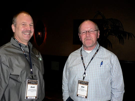 Bob Meyer (right) longtime farm radio personality in