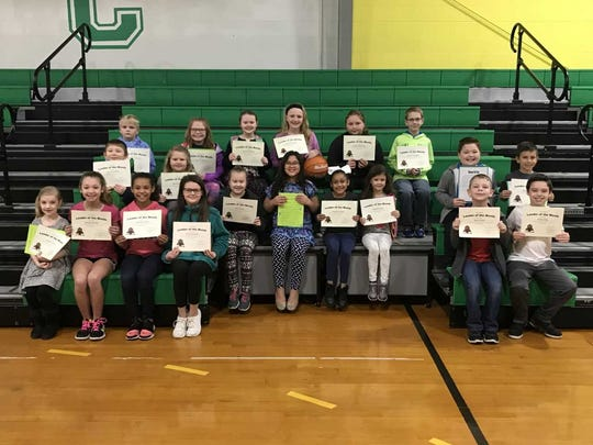 Cairo Elementary's March leaders of the month are, front row from left: Lainey Grimm, Ryleigh Rushin, Heaven Green, Emily Duncan, Max Tabor and Ethan Pike. 2nd row: Daniel Griffith. Braelynn Hall, Ella Garrett, Keilee Wilson, Akeelah Taylor, Maddie Nash, Gabe Vincent and Westin Blosser. Back row: Keaton Herdegen, Story Crawford, Lauren Shelton, Ainslee Toombs, Jasmin Beckham and Duncan Vaughn. Estelle Erbst is not pictured.