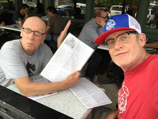 Jeff Ayers (left) and Jim Kelly, who duke it out on