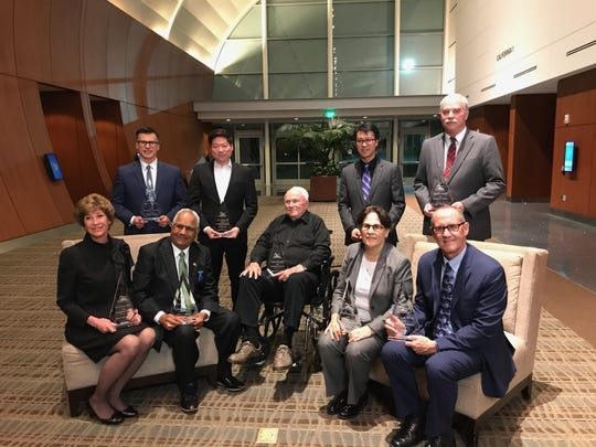 The 2018 Cal Poly Pomona Distinguished Alumni Award winners included Hartnell President and Superintendent Willard Lewallen (bottom, far right). A member of the 1976 national champion baseball team, his work on the field and off it post-graduation earned him the Athletic Department's award this year.