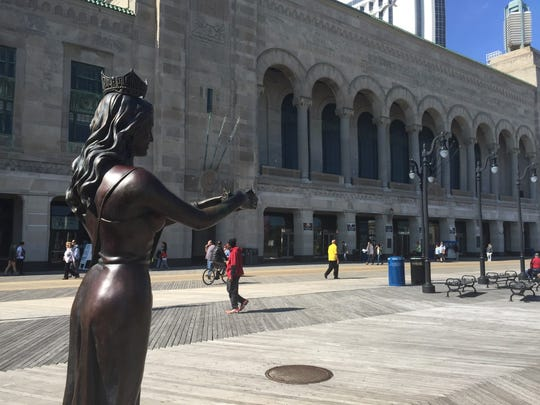 A Miss America statue rises outside Atlantic City's Convention Hall, site of the annual pageant.