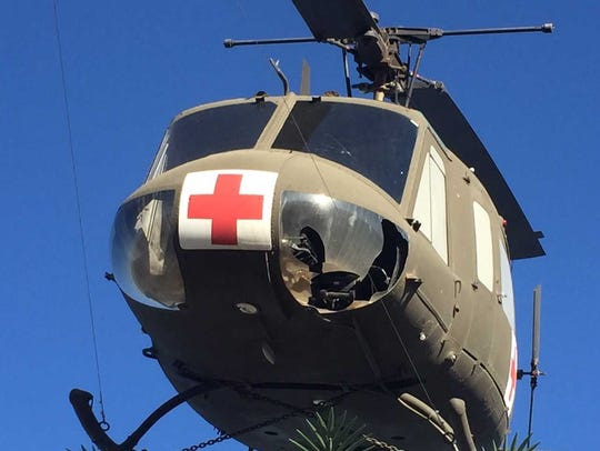 The downward vision window of a Huey mounted above
