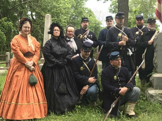 The Second New Jersey Brigade, Civil War Re-Enactors participated in a grave re-dedication ceremony for Civil War Private Heyward Glover Emmell on May 20, 2018, in the graveyard behind the Presbyterian Church of Morristown.