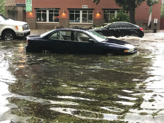 Katie Leech's car flooded at Mulberry and Mason streets.
