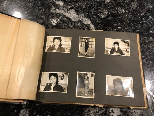 A photo album belonging to Louis Bazar Sr. shows photos of Nobue Ouchi, the mother of Bruce Hollywood whom Bazar Sr. had a relationship with while deployed in Japan in the late 1950s/early 1960s.
