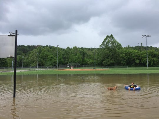 Ryan Murtha and his dog Jade float in the baseball field at Carrier Park, flooded after heavy rains throughout the region.