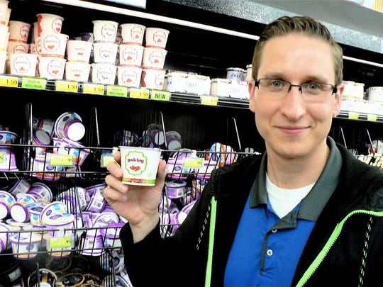 Ernie Allington, at east Woodman Market's dairy manager says the best selling Yodelay yogurt flavor is rhubarb.