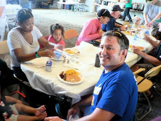 The breakfast on the farm is often a family event,